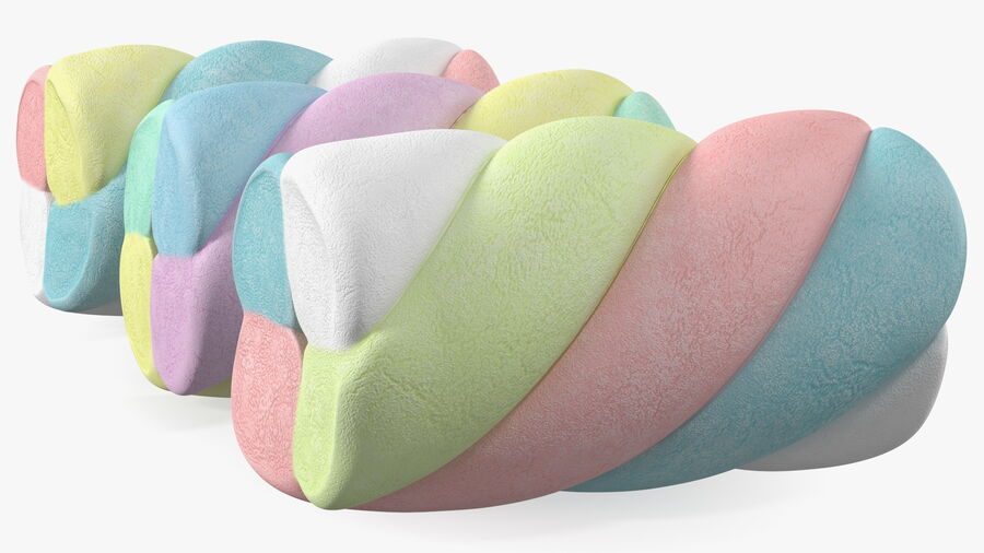 Multi Colored Marshmallow Twists royalty-free 3d model - Preview no. 10