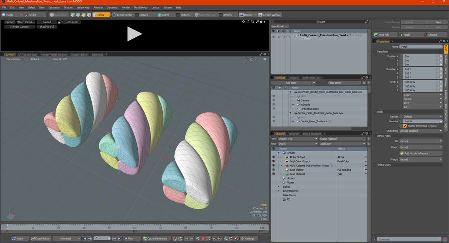 Multi Colored Marshmallow Twists royalty-free 3d model - Preview no. 24