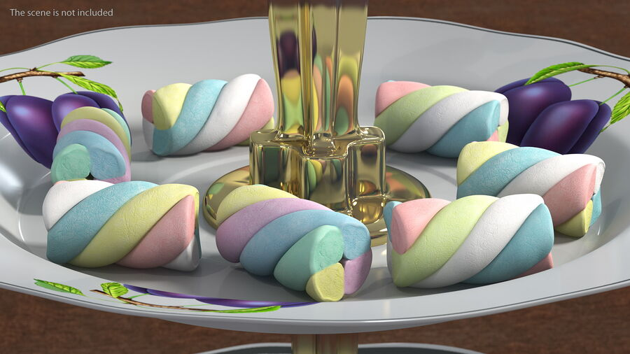 Multi Colored Marshmallow Twists royalty-free 3d model - Preview no. 3