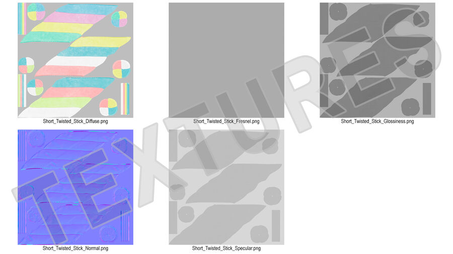 Multi Colored Marshmallow Twists royalty-free 3d model - Preview no. 19