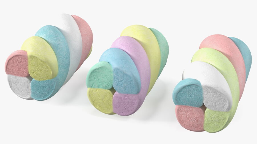 Multi Colored Marshmallow Twists royalty-free 3d model - Preview no. 9
