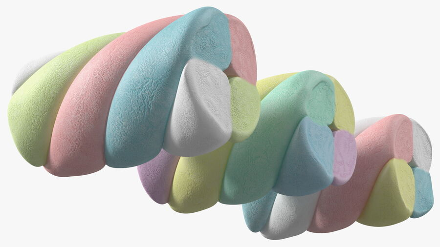 Multi Colored Marshmallow Twists royalty-free 3d model - Preview no. 11