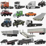 Sammlung von Fahrzeugen und Anhängern 3d model