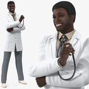 白衣を着たアフリカ系アメリカ人の男 3d model