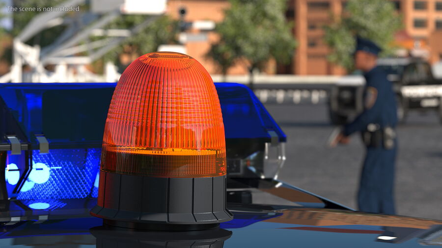 Magnetic Orange Flashing Beacon Light royalty-free 3d model - Preview no. 4