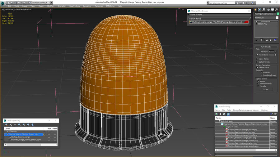 Magnetic Orange Flashing Beacon Light royalty-free 3d model - Preview no. 18