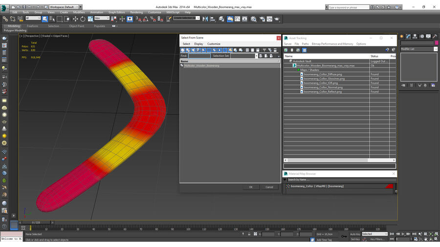 Multicolor Wooden Boomerang royalty-free 3d model - Preview no. 16