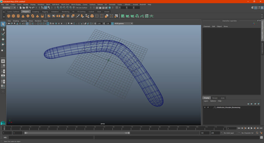 Multicolor Wooden Boomerang royalty-free 3d model - Preview no. 19