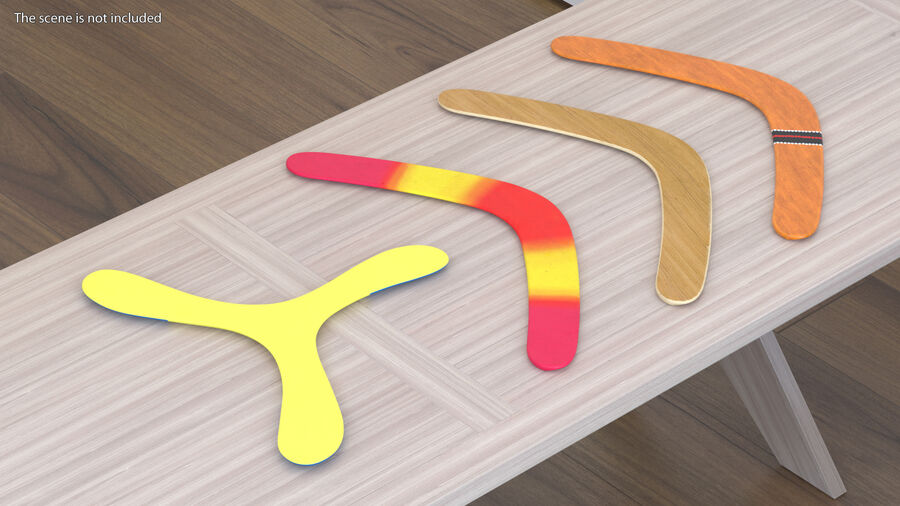 Multicolor Wooden Boomerang royalty-free 3d model - Preview no. 4