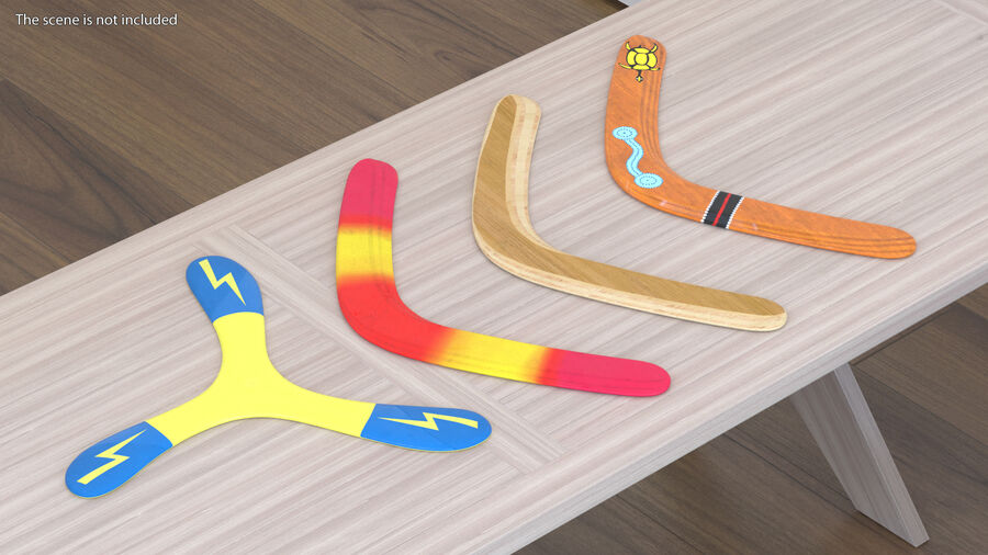 Multicolor Wooden Boomerang royalty-free 3d model - Preview no. 3