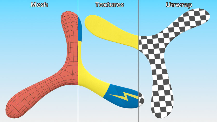 Three Winged Boomerang royalty-free 3d model - Preview no. 11
