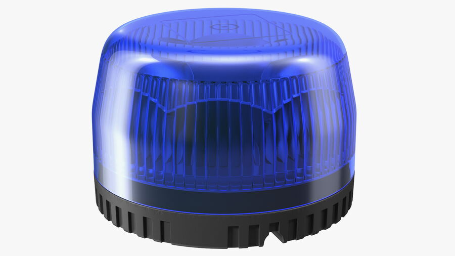 Blue Emergency Flashing Beacon royalty-free 3d model - Preview no. 7