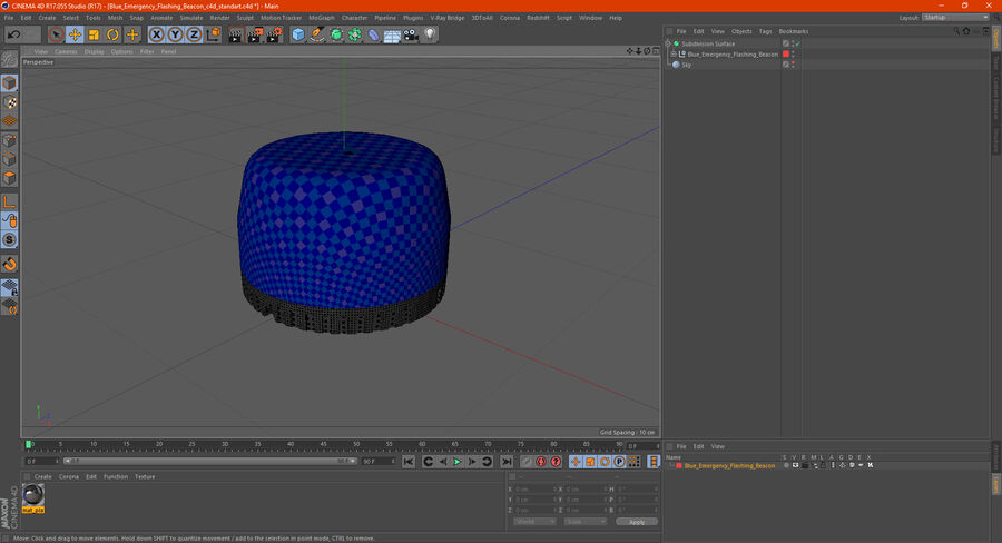 Blue Emergency Flashing Beacon royalty-free 3d model - Preview no. 18
