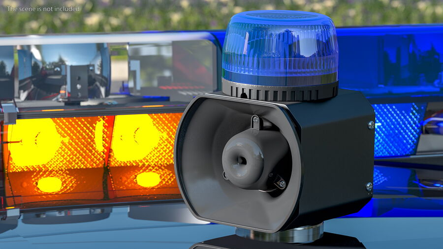 Blue Emergency Flashing Beacon royalty-free 3d model - Preview no. 3