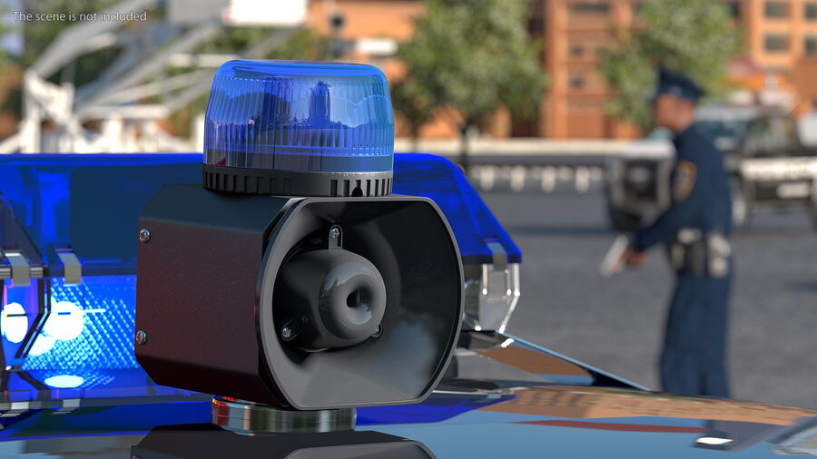 Blue Emergency Flashing Beacon royalty-free 3d model - Preview no. 4