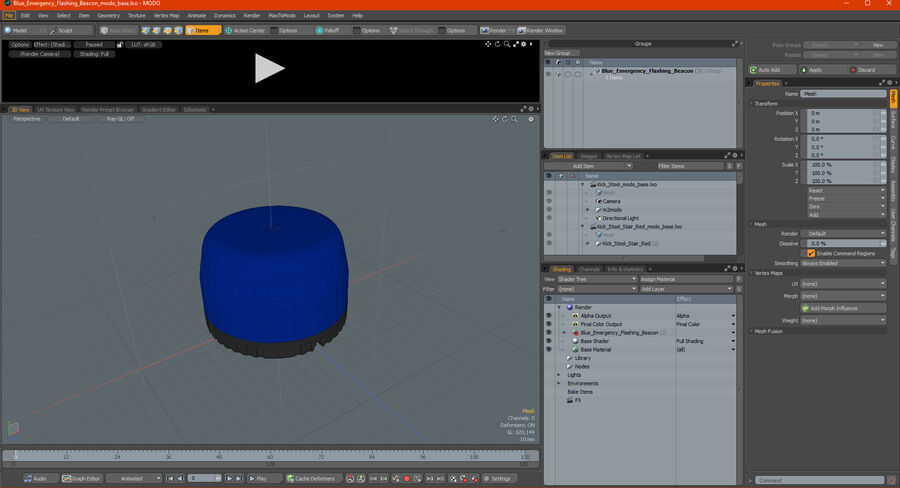 Blue Emergency Flashing Beacon royalty-free 3d model - Preview no. 21