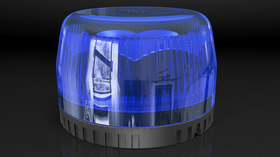 Blue Emergency Flashing Beacon royalty-free 3d model - Preview no. 6