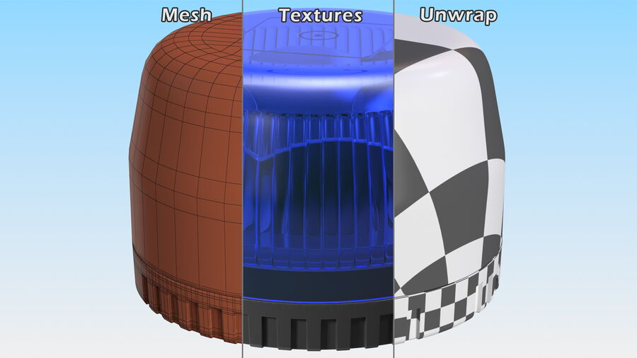 Blue Emergency Flashing Beacon royalty-free 3d model - Preview no. 12