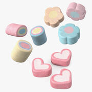 Shaped Marshmallows Collection 3d model
