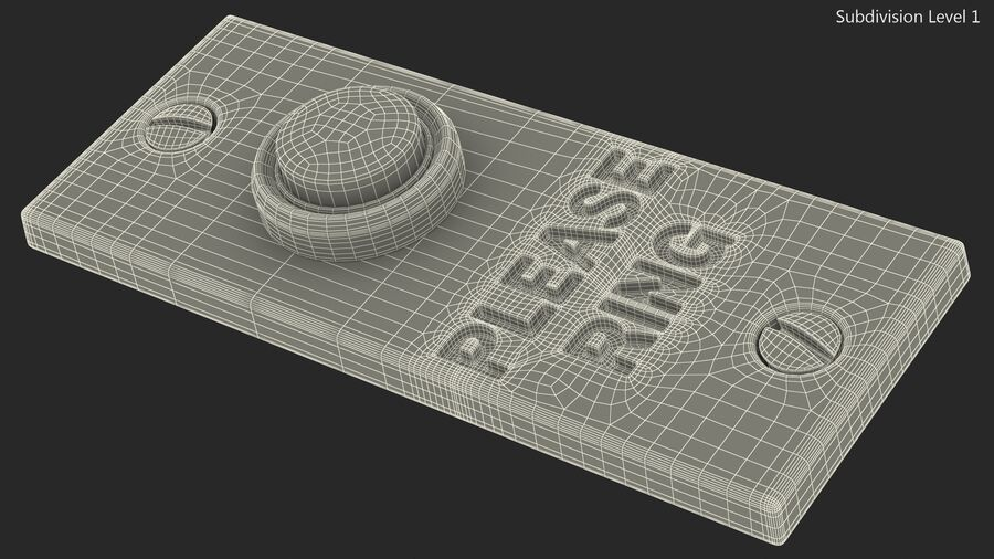 Rectangular Brass Bell Push royalty-free 3d model - Preview no. 15