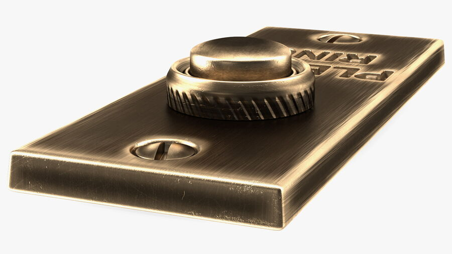 Rectangular Brass Bell Push royalty-free 3d model - Preview no. 8