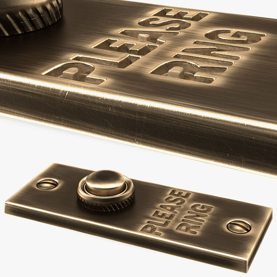 Rectangular Brass Bell Push royalty-free 3d model - Preview no. 1