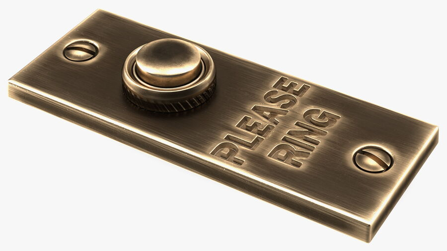 Rectangular Brass Bell Push royalty-free 3d model - Preview no. 2