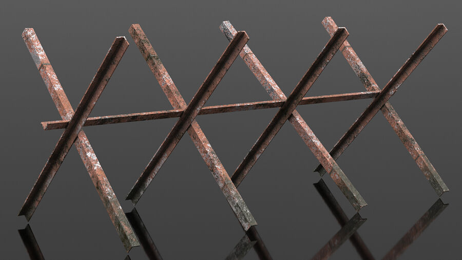 Makeshift Metal Barricade Old royalty-free 3d model - Preview no. 5