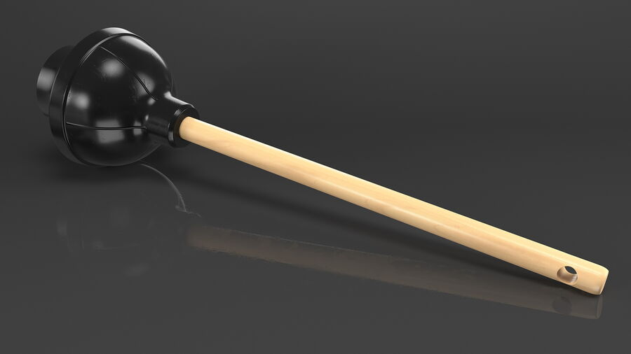 Heavy Duty Toilet Plunger with Wooden Handle royalty-free 3d model - Preview no. 6