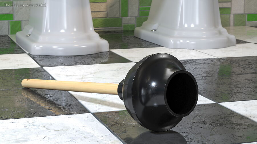 Heavy Duty Toilet Plunger with Wooden Handle royalty-free 3d model - Preview no. 5