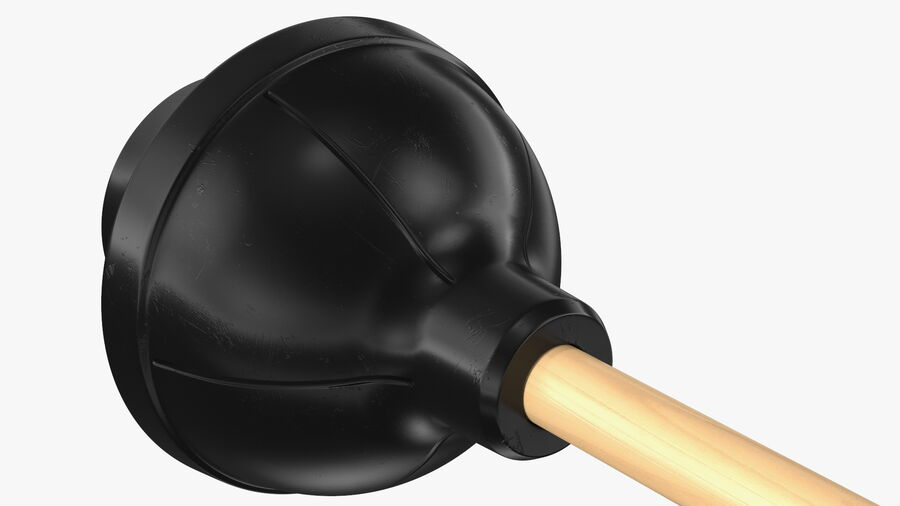 Heavy Duty Toilet Plunger with Wooden Handle royalty-free 3d model - Preview no. 11