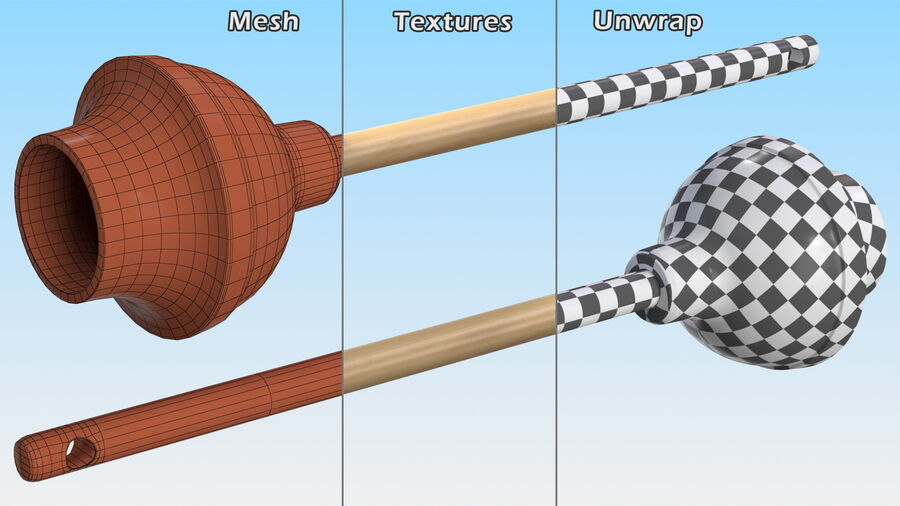 Heavy Duty Toilet Plunger with Wooden Handle royalty-free 3d model - Preview no. 12