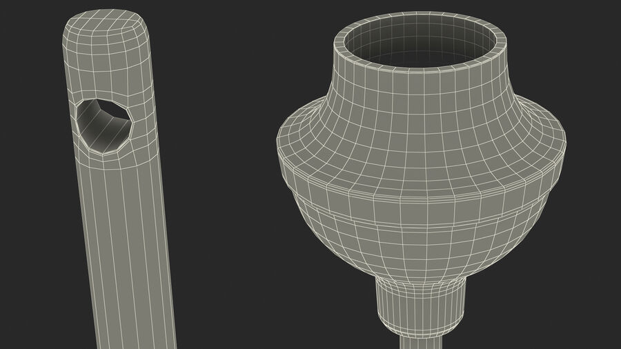 Heavy Duty Toilet Plunger with Wooden Handle royalty-free 3d model - Preview no. 23