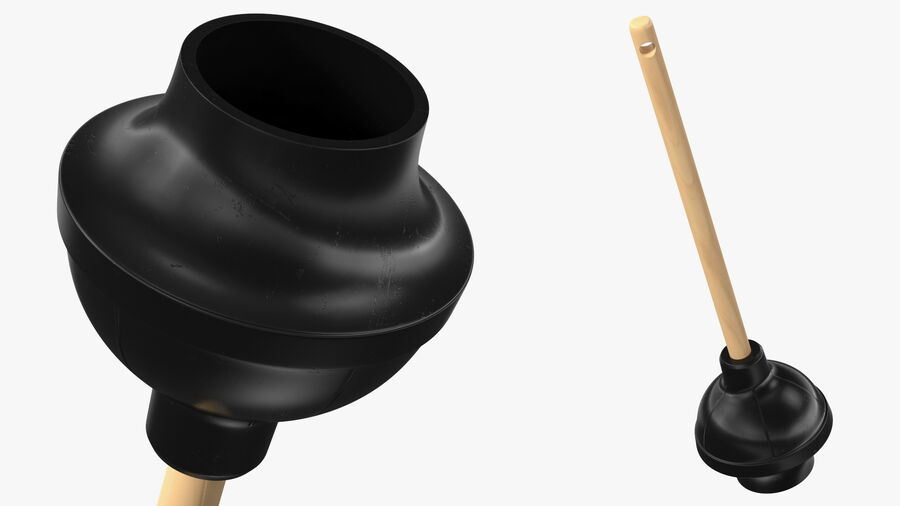 Heavy Duty Toilet Plunger with Wooden Handle royalty-free 3d model - Preview no. 2