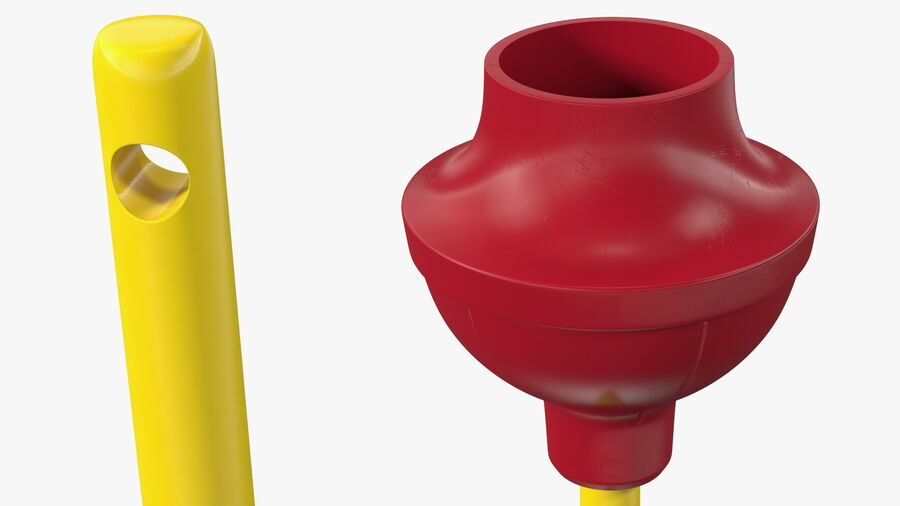 Heavy Duty Flange Toilet Plunger Red royalty-free 3d model - Preview no. 8