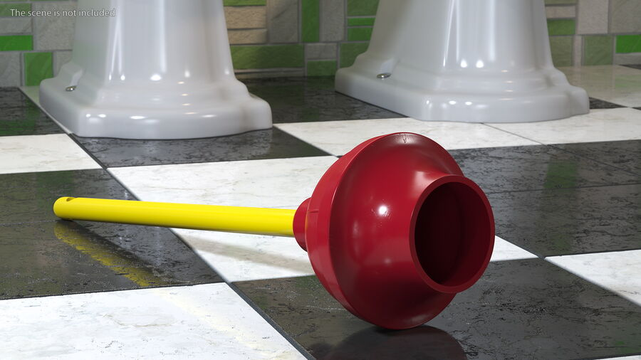 Heavy Duty Flange Toilet Plunger Red royalty-free 3d model - Preview no. 4
