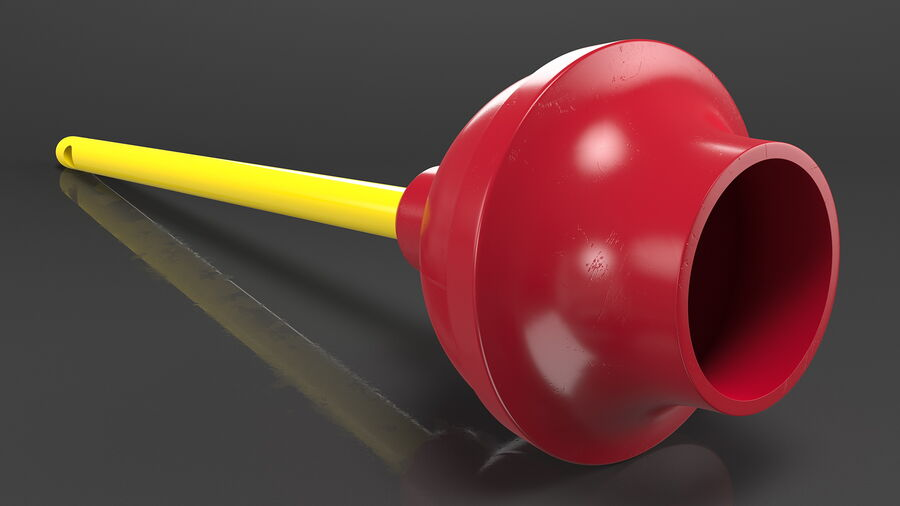 Heavy Duty Flange Toilet Plunger Red royalty-free 3d model - Preview no. 6