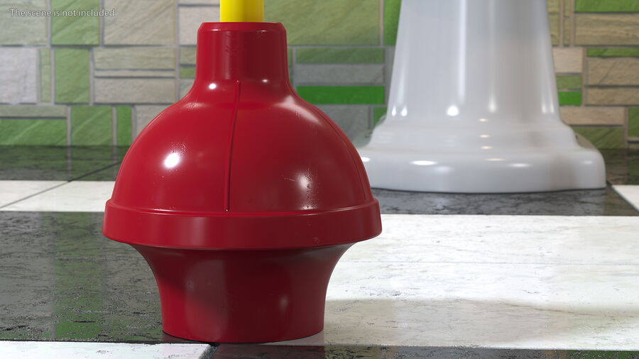 Heavy Duty Flange Toilet Plunger Red royalty-free 3d model - Preview no. 5