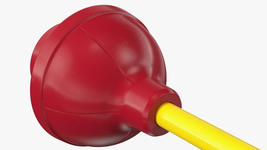 Heavy Duty Flange Toilet Plunger Red royalty-free 3d model - Preview no. 10